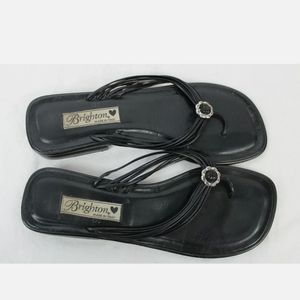 Brighton (MADE IN ITALY) BLACK LEATHER TOE THONG S
